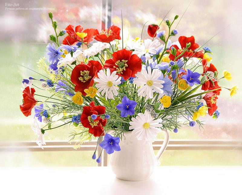 Открытка с полевыми цветами на день рождения 97