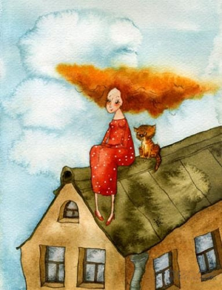 Картинки женщина с котом на крыше