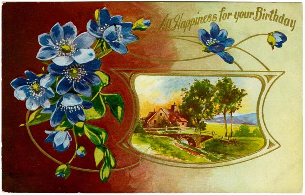 Поздравления с днем рождения женщине красивые открытки старинные